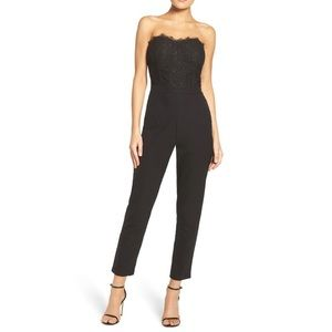 ADELYN RAE Black Strapless Lace Jumpsuit Dressy
